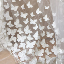 Lace-Fabric Silver-Thread Craft Prom-Dress Wedding-Gown 1-Yard Off-White with Clear Sequin