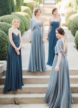 V neck strapless one shoulder blue chiffon bridesmaid dress