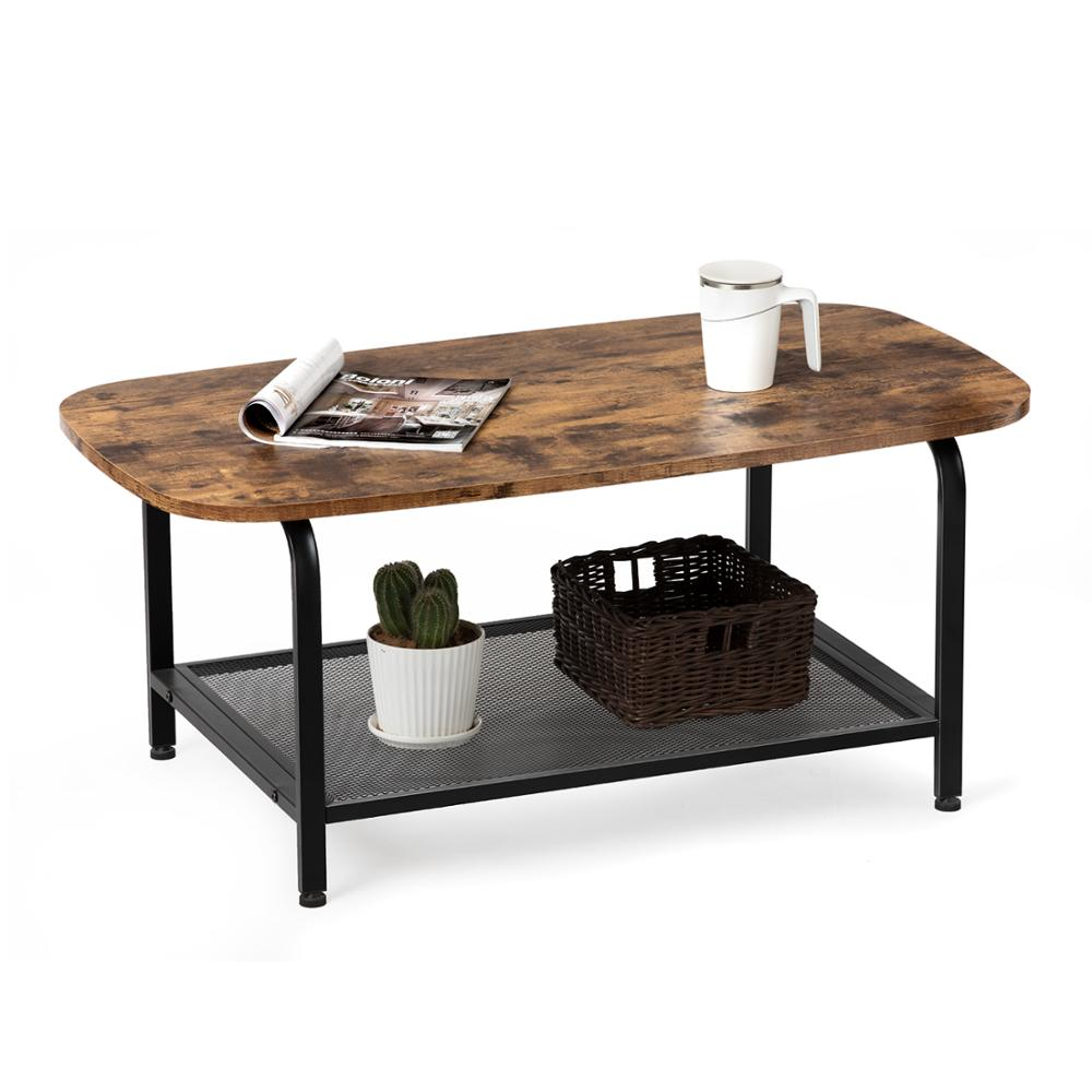 Oval Coffee Table With Storage Shelf Steel Frame Industrial Cocktail Table For Living Room Wood Look Accent Furniture