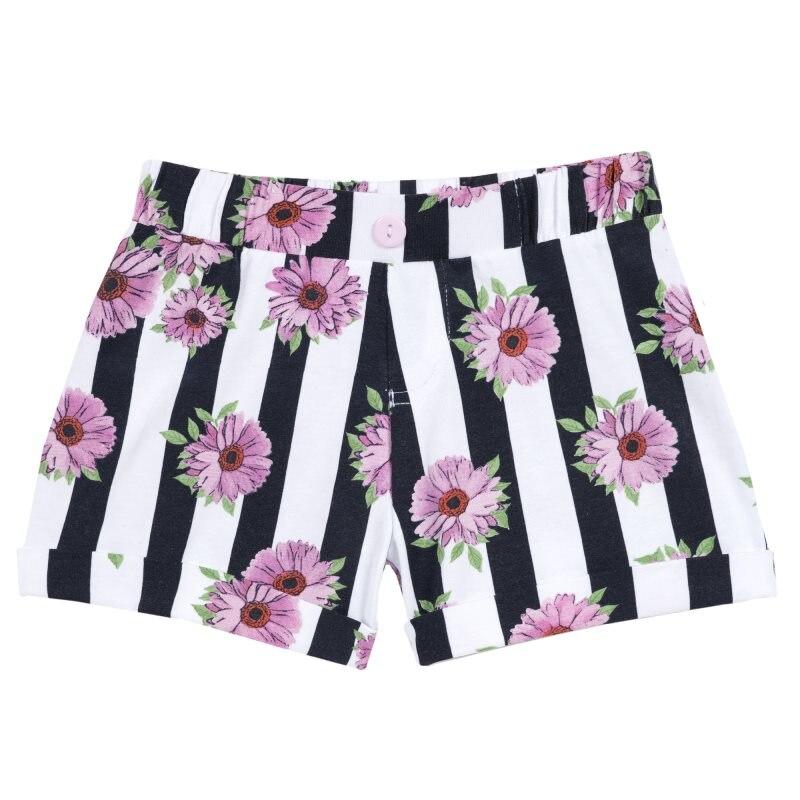 Shorts Chicco, size 098, print flowers (black-white stripe)