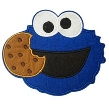 "6.3 ""GROßE Sesam straße patch Cookie Monster mit cookie Weihnachten Party Applique Film TV FILM Cartoon Gestickte Patches(China)"