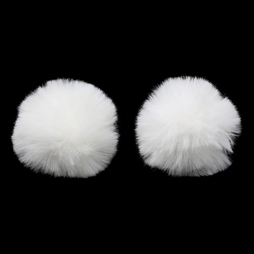 Pompon Made Of Artificial Fur (rabbit), D-6cm, 2 Pcs/pack (L Snow White)