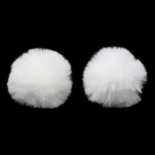 Pompon Made Of Artificial Fur (rabbit), D-6cm, 2 Pcs/pack (L Snow White)