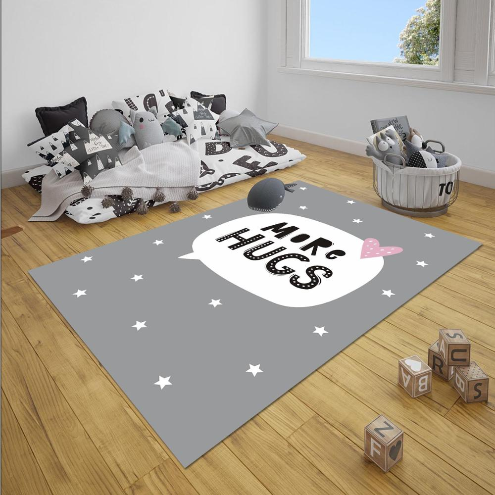 Else Gray White More Hugs Stars Heart Nordec Girl 3d Print Non Slip Microfiber Children Baby Kids Room Decorative Area Rug Mat
