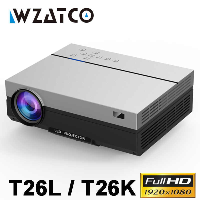 WZATCO T26L 4K Full HD 1080P LED Proyektor 1920X1080P Android 9.0 WIFI AC3 200Inch 5500Lumen Video Projector untuk Home Theater