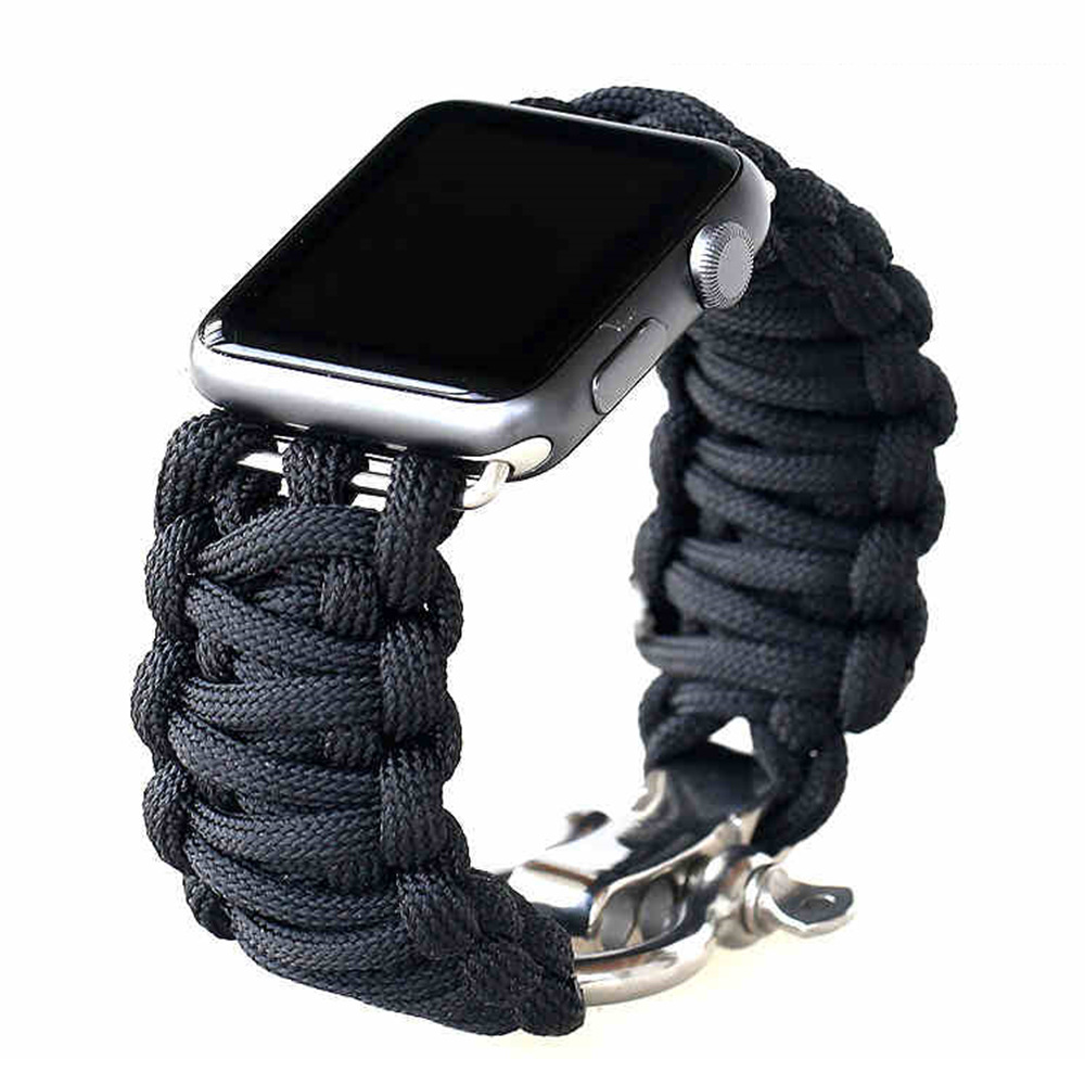 Nylon strap For Apple watch 5 band 44mm 40mm iWatch band 42mm 38mm Outdoors Sport Survival Rope Bracelet Apple watch 4 3 2 1 44|Watchbands| |  - title=
