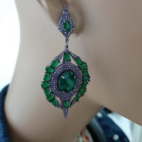925 Sterling Silver Earrings Green Stone Statement Long Big Boho Cute Dangle Stud Earrings серьги с камнями 925