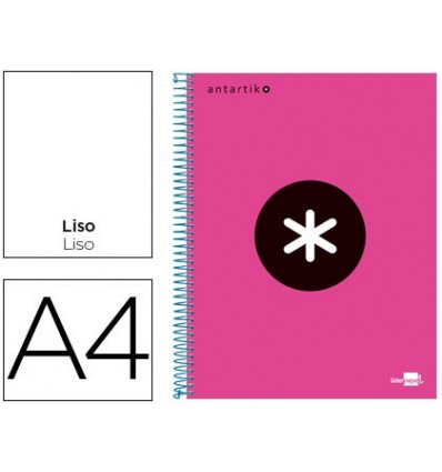 SPIRAL NOTEBOOK LEADERPAPER A4 MICRO ANTARTIK LINED TOP 120H 100 GR WITH BANDS 4 HOLES PINK FLUOR