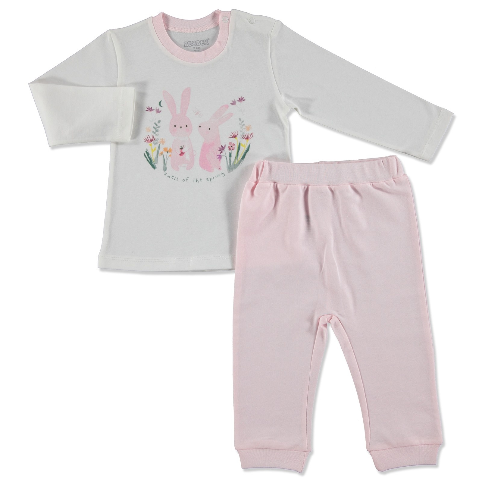 Ebebek Bebbek Summer Baby Girl Spring Supreme Crew-Neck Sweatshirt Pant 2 Pcs Set