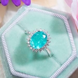 Image 2 - GZXSJG Paraiba Tourmaline Gemstones Ring for Women Solid 925 Sterling Silver Tourmaline Diamonds Handmade Ring for Anniversary