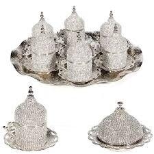 цена на Set of 6 Swarovski Turkish Coffee Cups Set Made in Turkey Arabic Coffee Set Handmade Tea Cups Set Espresso Set Copper Coffee set