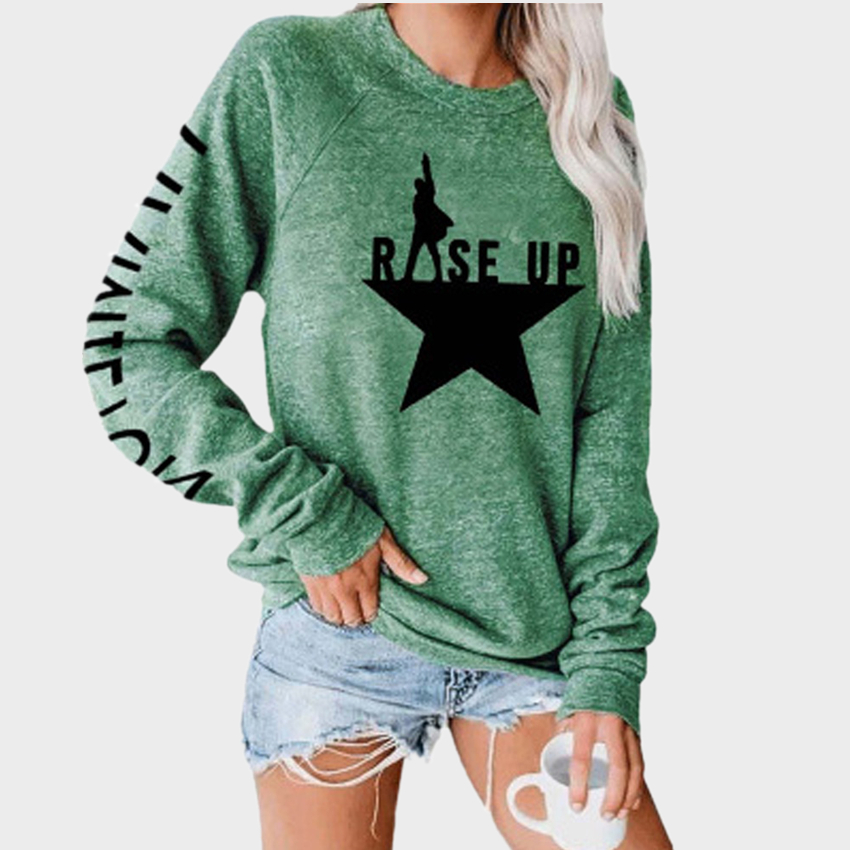 Letter Stars Print Top Long Sleeve T-shirt Women Casual Female Tops Tee Shirts Women Clothes tshirts 2020 mujer camisetas