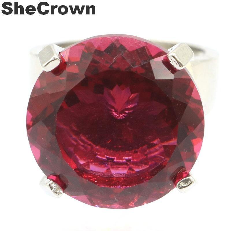 20x20mm Gorgeous Created 12g Big Round 20mm Gemstone Pink Tourmaline Woman's Jeweley Making Silver Ring