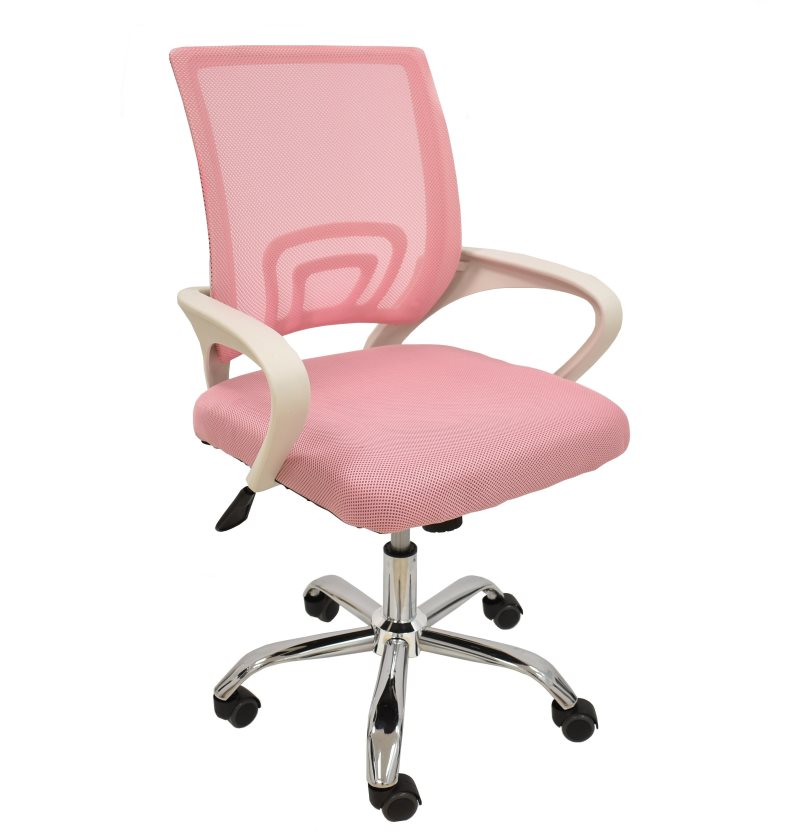 Office Armchair FISS NEW, White, Gas, Rocker, Mesh And Fabric Pink