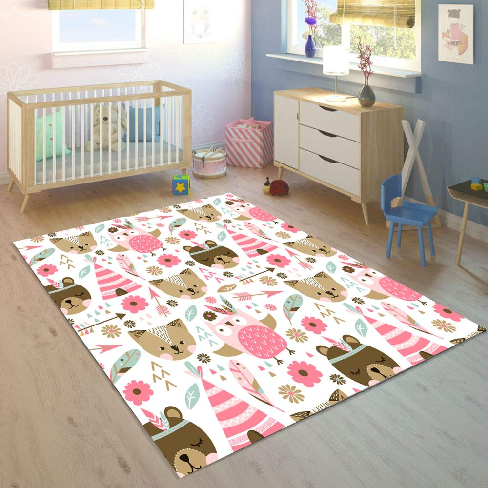 Else Pink Funny Animals Bohemian Girls 3d Print Non Slip Microfiber Children Kids Room Decorative Area Rug Kids  Mat