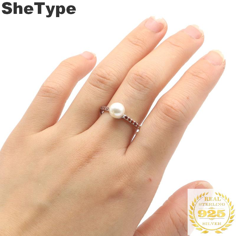 7x7mm Pretty White Pearl Created Garnet Gift For Sister 925 Solid Sterling Silver Rings