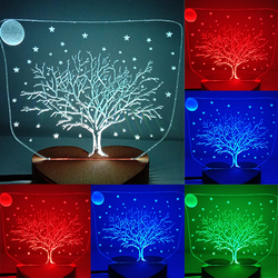 N-052 Tree and star-3D USB led Eco-friendly lamp night light, hand, table night light, home decor,