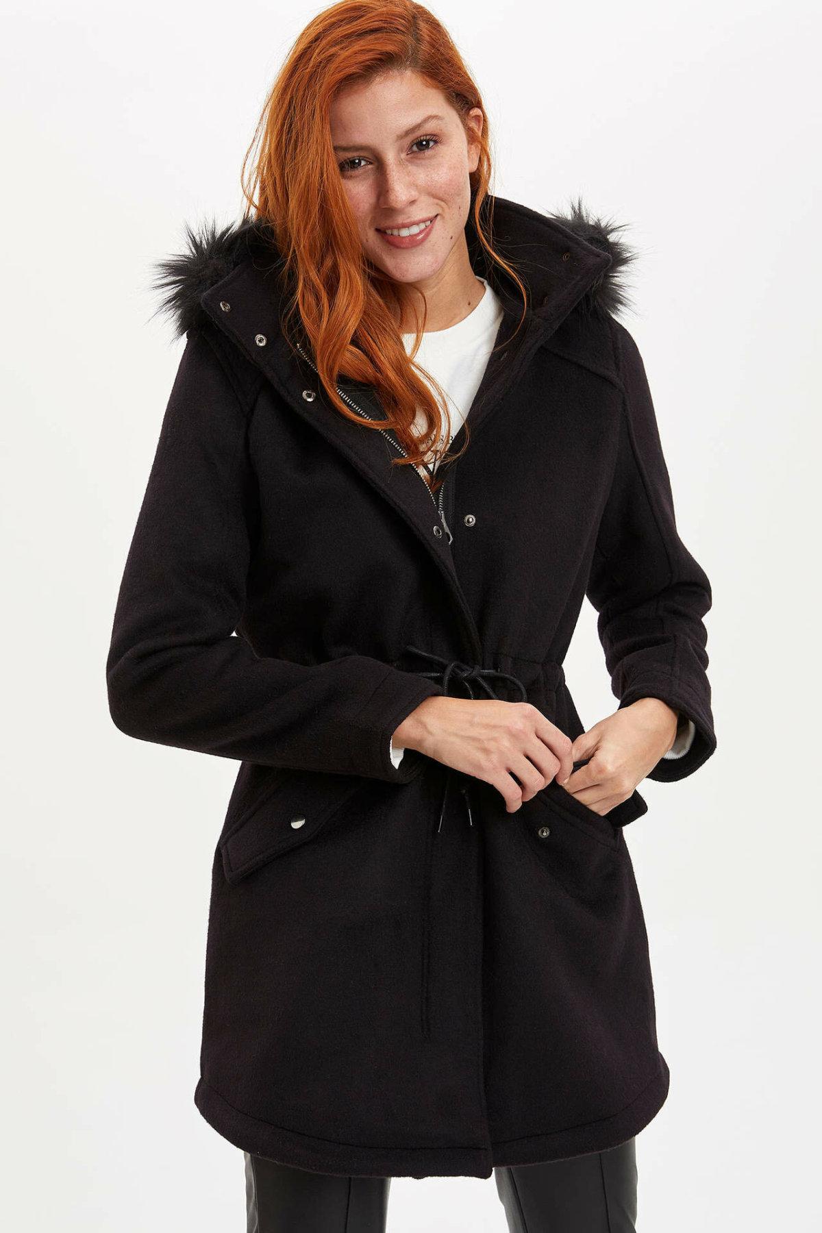 DeFacto Woman Winter Black Parka Coats Women Hooded Thick Warm Lace-up Belt Tops Female Cotton Coats Cachet-K9831AZ19WN