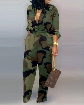 2020 Spring Fashion Women V Neck Camouflage Print Buttoned Jumpsuit Elegant Casual Loose Female Jumpsuits With Belt XXL 3XL buttoned v neck cardigan