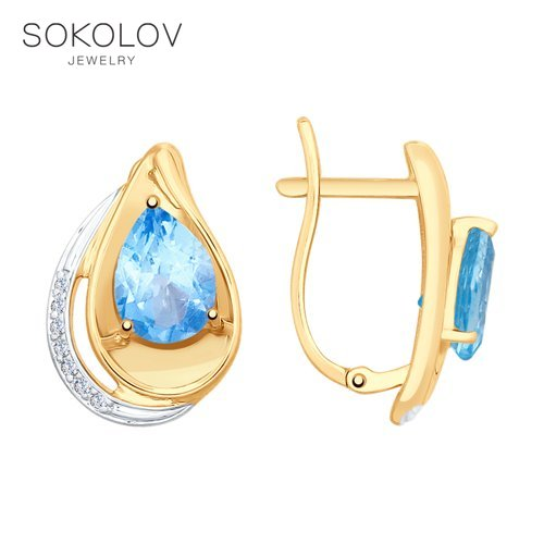 SOKOLOV Drop Earrings With Stones With Stones With Stones With Stones With Stones With Stones With Stones With Stones With Stones With Stones Of Gold With Topaz And Cubic Zirconia Fashion Jewelry 585 Women's Male