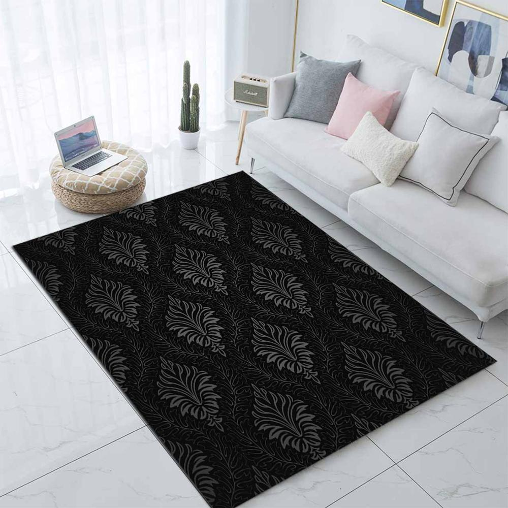 Else Black White Ethnic Damask 3d Print Non Slip Microfiber Living Room Modern Carpet Washable Area Rug Mat