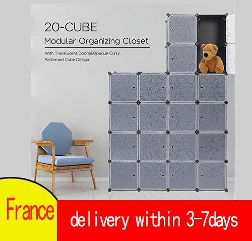 Современный пластиковый шкаф в сборе, 5 уровней, 20 дверей