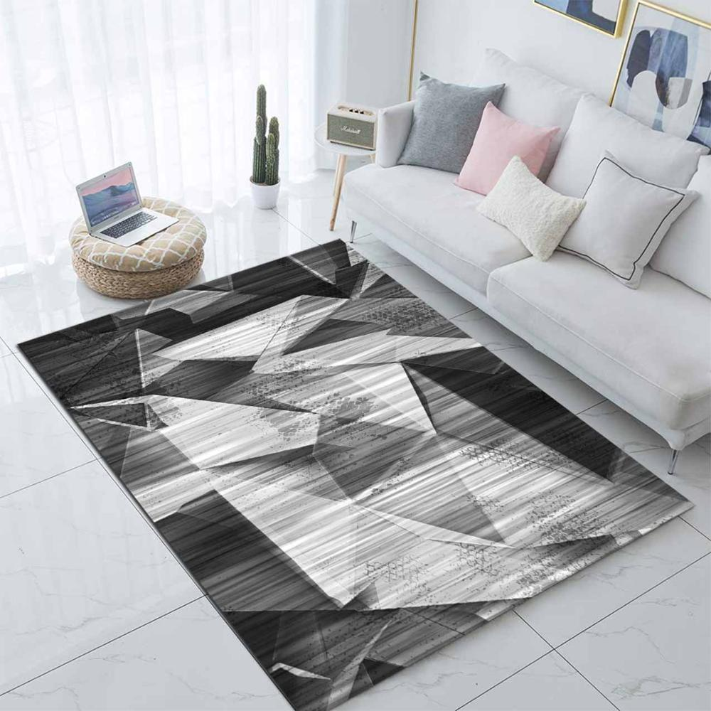 Else Black Gray Geometric Abstract Patchwork 3d Print Non Slip Microfiber Living Room Modern Carpet Washable Area Rug Mat