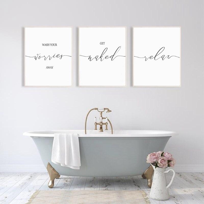 Lavar as suas preocupações longe imprimir ir nua & relaxar banheiro quotas posters arte de parede fotos pintura tela convidado decoração do banheiro