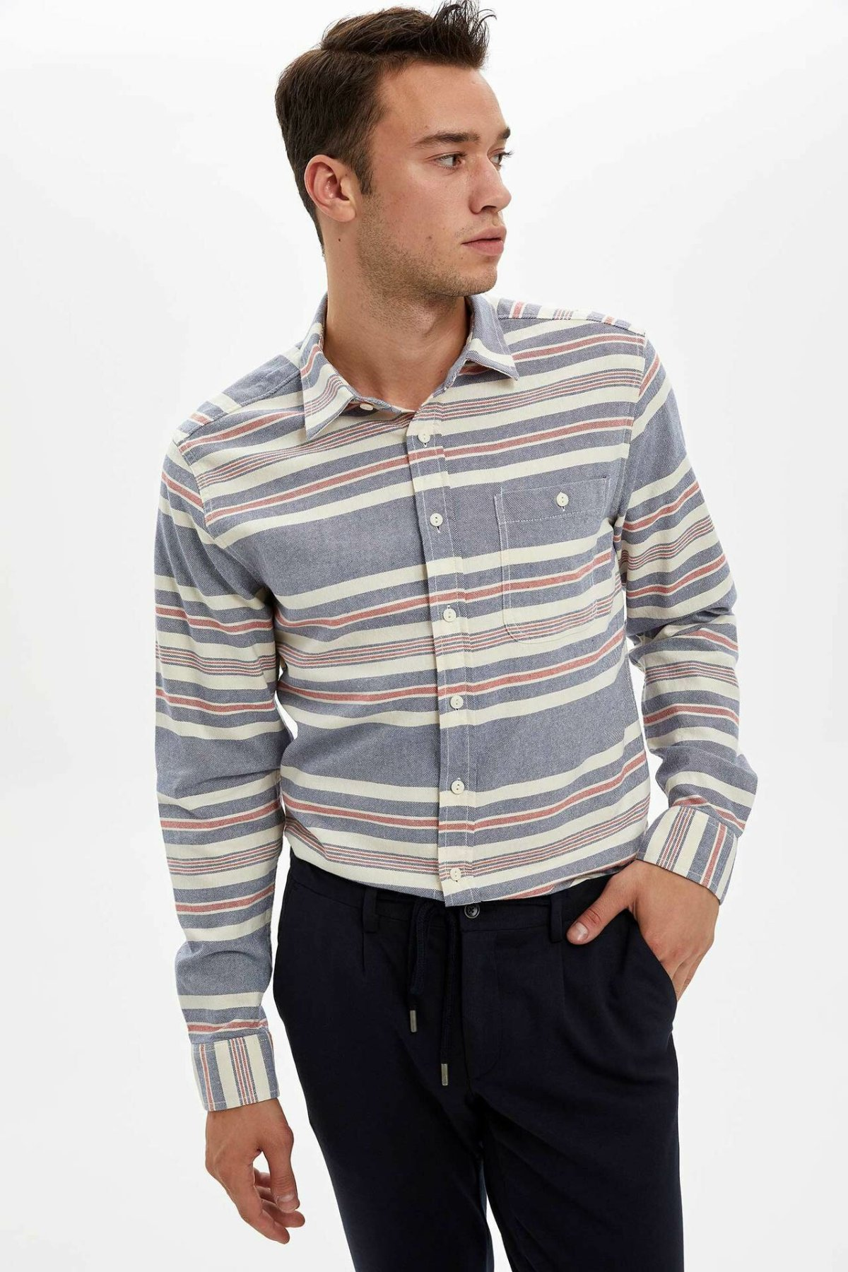 DeFacto Fashion Lapel Collar Men Casual Striped Shirt Long Sleeve Simple Pockets Shirts Male Top Shirt-K6551AZ19AU