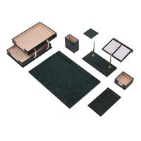 Leather Desk Set 10 Pieces With Double Document Tray Desk Organizer, Office Accessories, Desk Accessories, Office Supplies