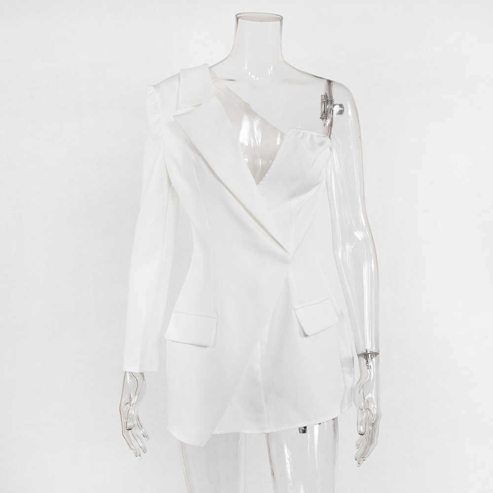Elegant Pencil Dress Women Autumn Office Lady Long Sleeve Casual Blazer Dress 2019 One Shoulder Slim Suit Ladies Dresses