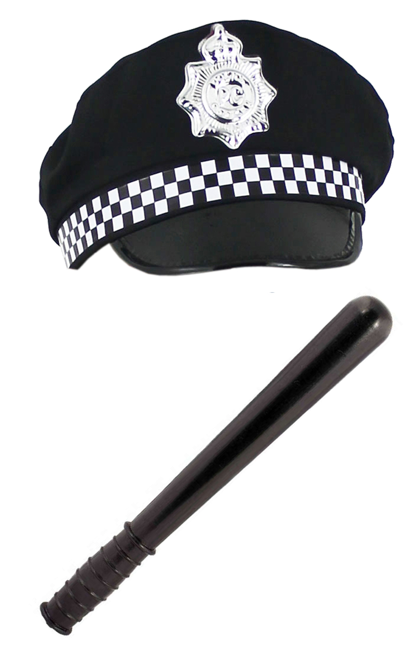 Truncheon Adult Police Officer Fancy Dress Set Handcuff Badge Blue Hat