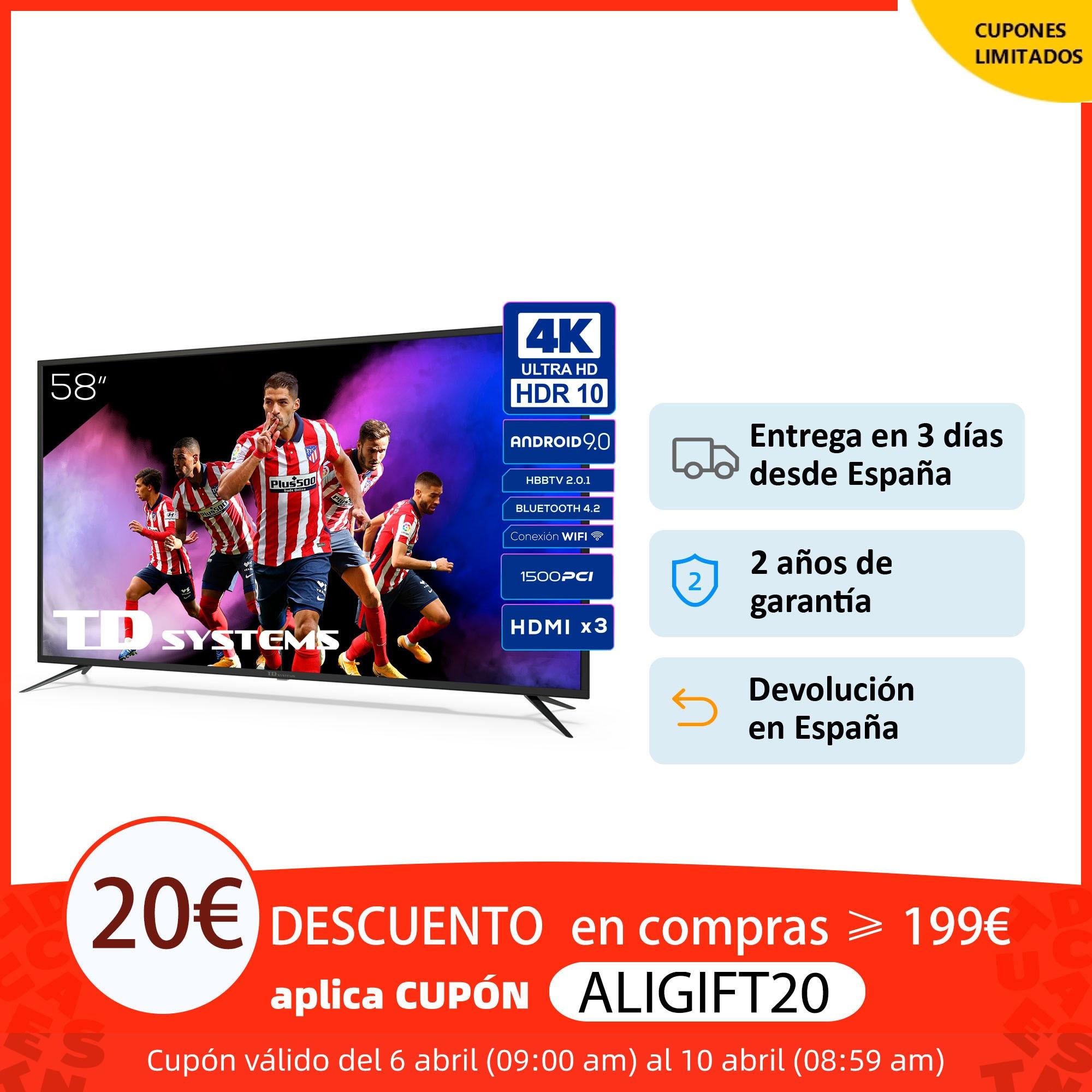 Televisores Smart TV 58 Pulgadas TD Systems K58DLX11US. UHD 4K HDR, DVB T2/C/S2, HbbTV [Envío desde España, garantía de 2 años] Smart TV  - AliExpress