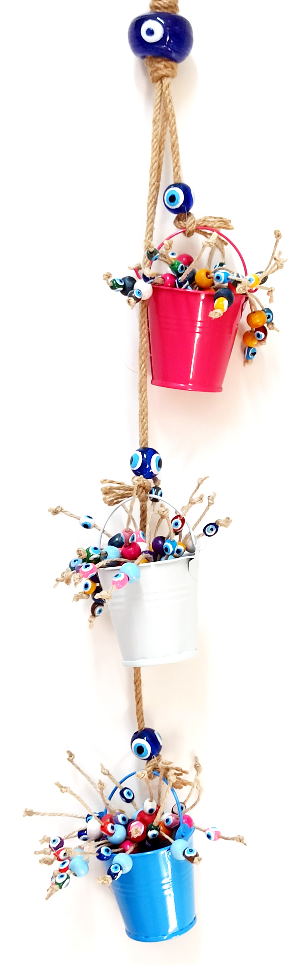 Evil Eye Beaded Colorful Bucket Wall Ornament Evil Eye Beaded Door And Wall Decor Fashionable(In) Style;
