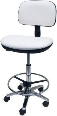Stool WORK 10, Chrome, Gas, Upholstered Similpiel Black Or White