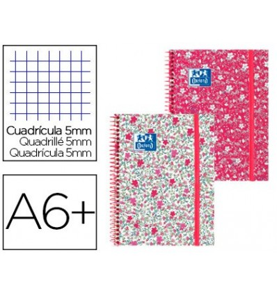 SPIRAL NOTEBOOK OXFORD EBOOK 1 CAP EXTRADURA 8 GRID 80 SHEETS 5 MM FLORAL WITH GOMILLA