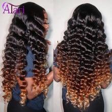 Atari ombre 4 30 onda profunda solta peruca de cabelo humano brasileiro encaracolado peruca frontal do laço 30 polegadas pré arrancadas #99 perucas do laço para mulher