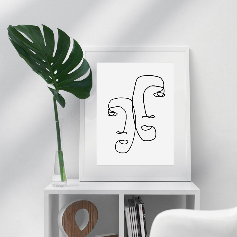 One Line Drawing Wall Art Print Home Decoration