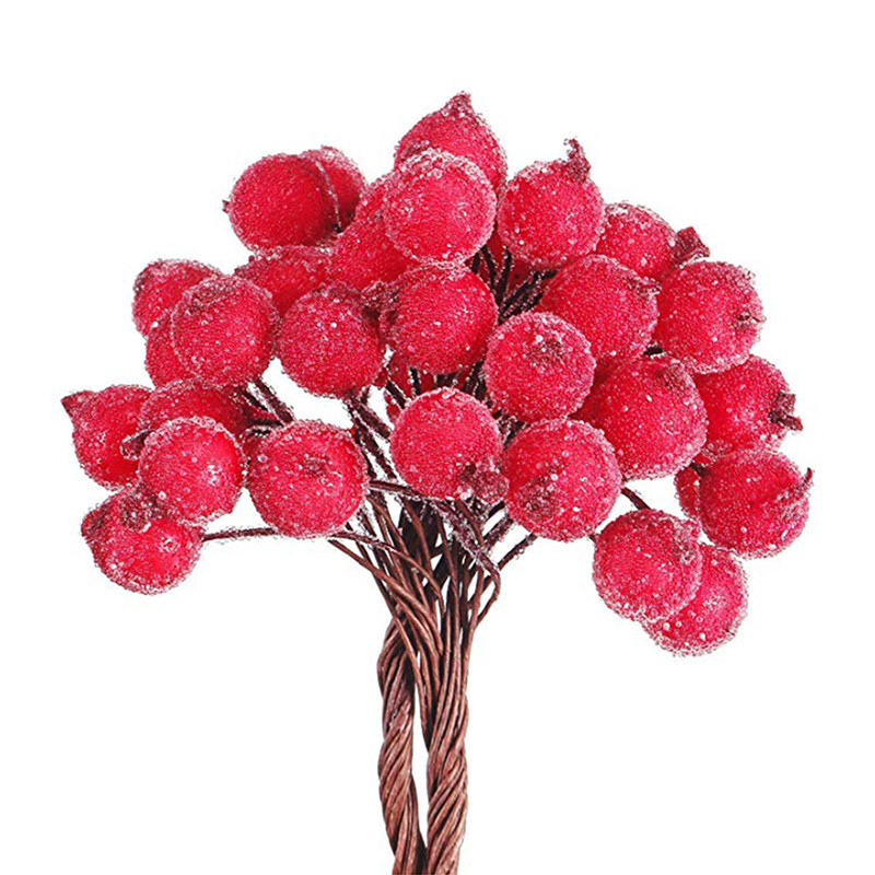 40/100 Uds decorativo Mini Navidad helado baya Artificial vívido acebo rojo bayas acebo hogar guirnalda nueva hermosa