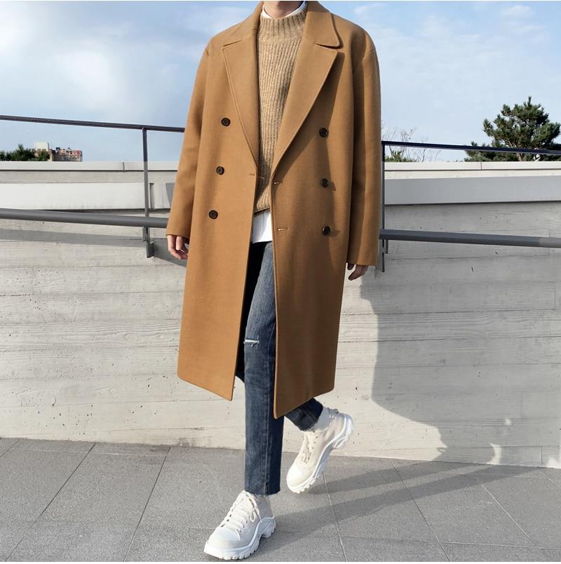 Obrix Шерстяное мужское пальто, базовое двубортное пальто свободного покроя с v образным вырезом и длинным рукавом для мужчин|Пальто| | АлиЭкспресс