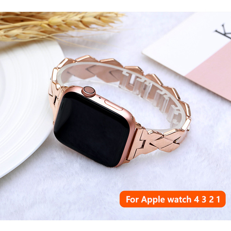 Stainless Steel Strap For Apple Watch Band 38mm 42mm IWatch 4 Bands 44mm 40 Mm Rhombic Metal Belt Bracelet Apple Watch 5 4 3 2 1