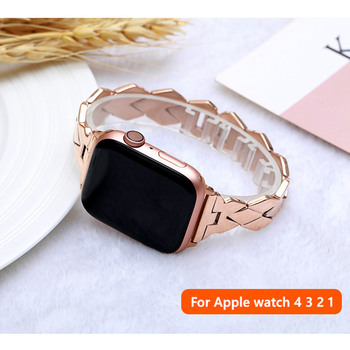 Stainless Steel strap for Apple Watch band 40mm 44mm iWatch bands 38mm 42mm Rhombic Metal Bracelet Apple watch 3 4 5 se 6 band
