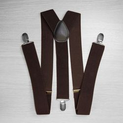 Suspenders for trousers wide (3.5 cm, 3 clips, chocolate) 50826