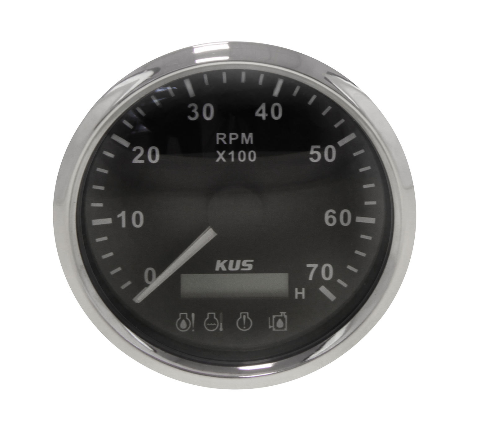 Tachometer 0-7000 Rev/min Alarm Divider 1-10, Black Dial Stainless Steel Bezel. 85mm KY07046