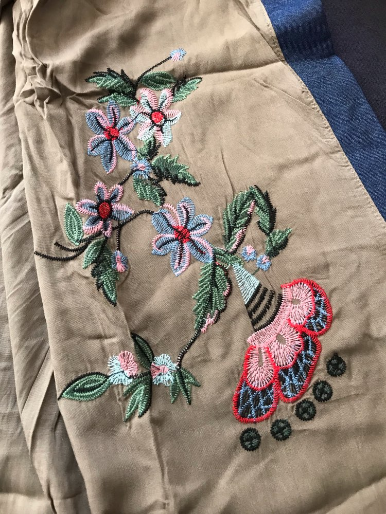 Flowers Embroidery Beach Kimono Holiday Army Green Vintage Swimwear Cover Ups Long Sleeve Autumn Outer Cover photo review