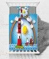 Голубое небо Маяк корабль солнце мальчик 3D печати Хлопок Сатин одно покрывало подарок комбинированный наволочка