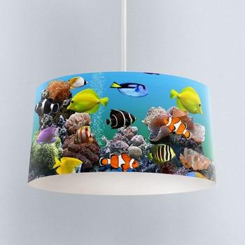 Else Aquarium Colored Fishes Water World Digital Printed Fabric Chandelier Lamp Drum Lampshade Floor Ceiling Pendant Light Shade