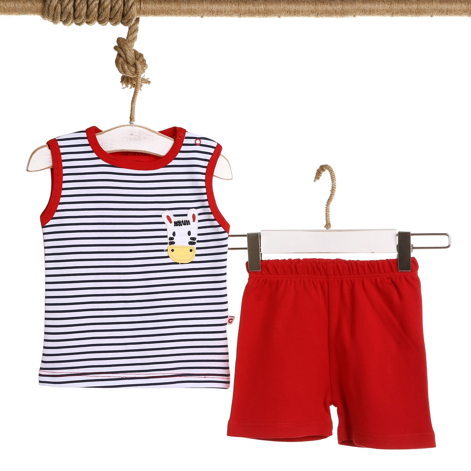 Ebebek Carmin Baby Boy Zebra Embroidered Athlete Short