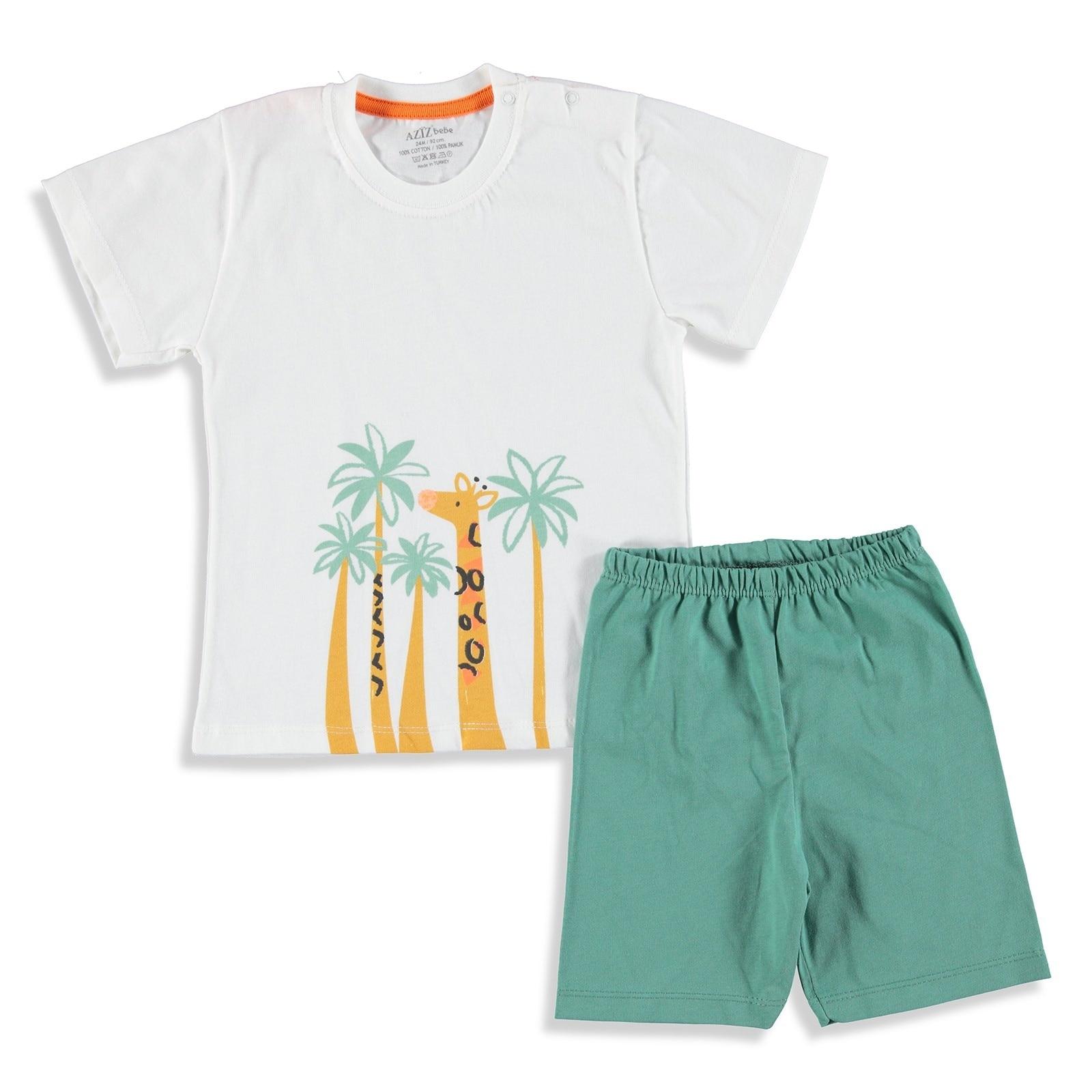 Ebebek Aziz Bebe Safari Baby Boy Tshirt Short Set