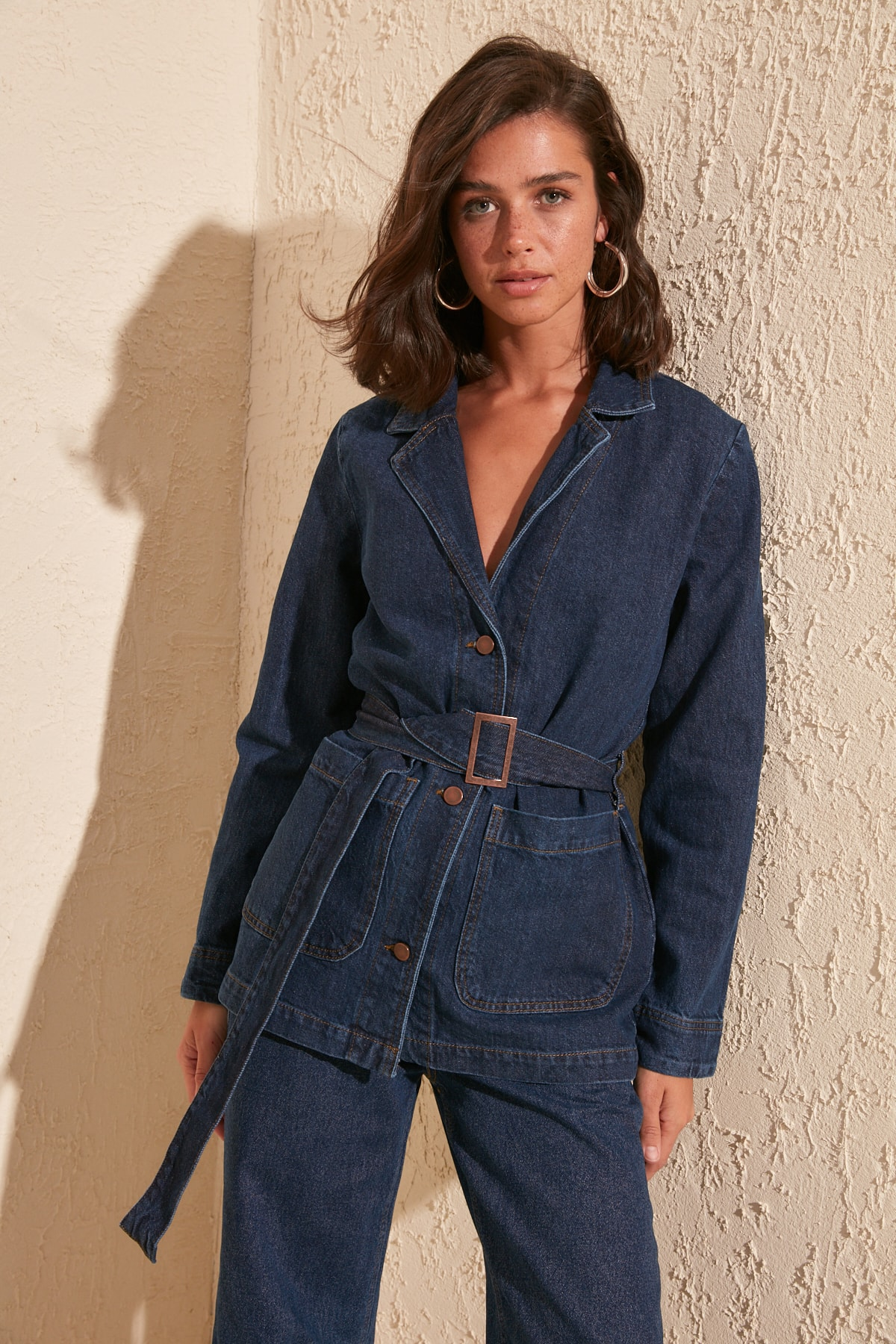 Trendyol Belt Detail Blazer Denim Jacket TWOSS20CE0086